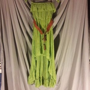 Annabelle - Strapless Green High-Low Dress w/ Belt
